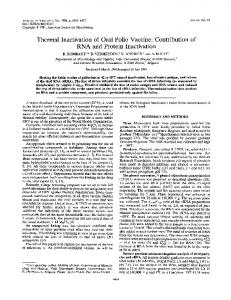 Thermal Inactivation of Oral Polio Vaccine:Contribution of RNA ... - NCBI