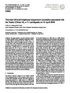 Thermal infrared brightness temperature anomalies associated with ...