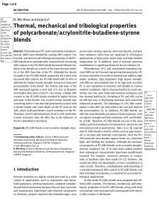 Thermal, mechanical and tribological properties of polycarbonate ...