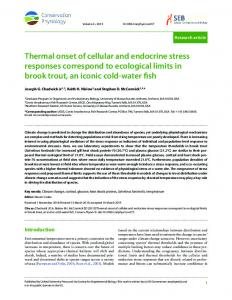 Thermal onset of cellular and endocrine stress responses correspond ...