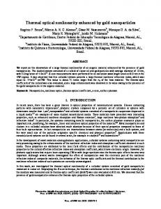 Thermal optical nonlinearity enhanced by gold ... - CiteSeerX