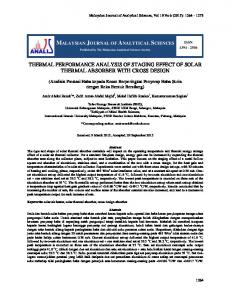 thermal performance analysis of staging effect of solar thermal ... - UKM?