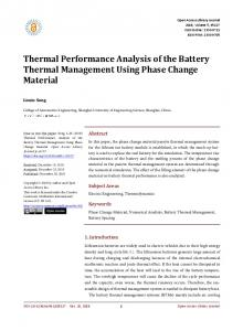 Thermal Performance Analysis of the Battery Thermal ... - Doi.org