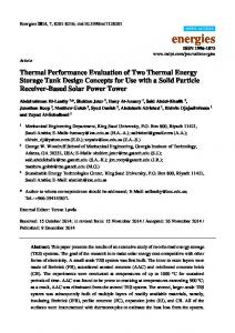 Thermal Performance Evaluation of Two Thermal Energy ... - MDPI