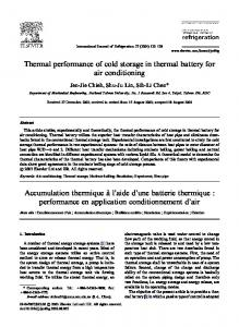 Thermal performance of cold storage in thermal battery for air ...