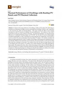 Thermal Performance of Dwellings with Rooftop PV Panels ... - MDPI