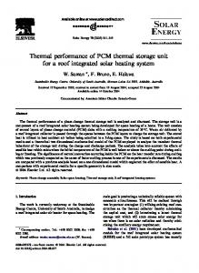 Thermal performance of PCM thermal storage unit for ...