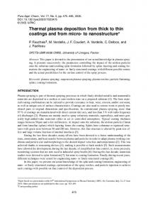 Thermal plasma deposition from thick to thin coatings and ... - CiteSeerX