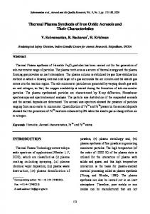 Thermal Plasma Synthesis of Iron Oxide Aerosols and Their ...
