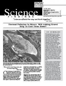Thermal Pollution In Rivers - USDA Forest Service