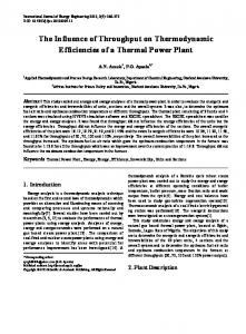 Thermal Power Plant, Exergy, Energy, Efficiency