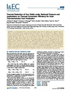 Thermal Reduction of Iron Oxide under Reduced Pressure and