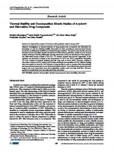 Thermal Stability and Decomposition Kinetic Studies of Acyclovir and ...