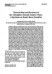Thermal State and Structure of the Lithosphere beneath Eastern China