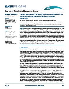 Thermal variations in the South China Sea ... - Wiley Online Library