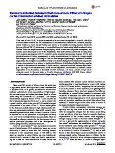 Thermally activated defects in float zone silicon: Effect ... - AIP Publishing