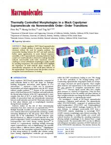 Thermally Controlled Morphologies in a Block Copolymer ...