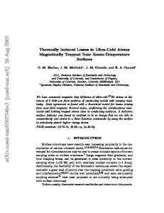 Thermally Induced Losses in Ultra-Cold Atoms Magnetically Trapped ...
