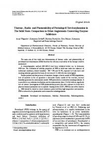 Thermo-, Radio- and Photostability of Perindopril Tert-butyloamine in ...
