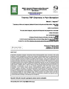 Thermo-TRP Channels in Pain Sensation