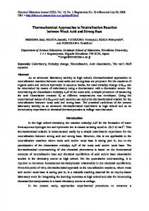 Thermochemical Approaches to Neutralization Reactions between ...