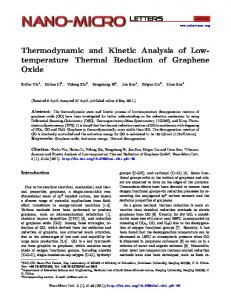 Thermodynamic and Kinetic Analysis of Lowtemperature Thermal ...