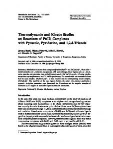 Thermodynamic and Kinetic Studies on Reactions of Pt (II) Complexes