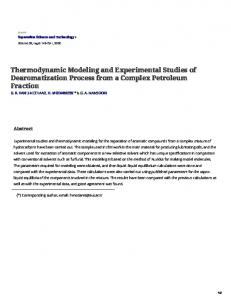 Thermodynamic Modeling and Experimental...n