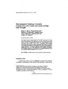 Thermodynamic Modeling of Actinide Complexation ... - Springer Link