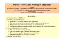 Thermodynamics and Kinetics of Adsorption