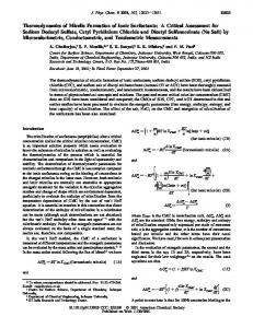 Thermodynamics of Micelle Formation of Ionic Surfactants: A Critical