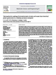 Thermoelectric cooling of microelectronic circuits ... - Semantic Scholar