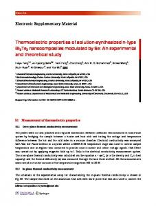 Thermoelectric properties of solution-synthesized n