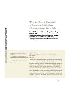 Thermoelectric Properties of Solution Synthesized