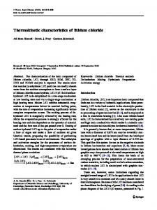 Thermokinetic characteristics of lithium chloride - Springer Link