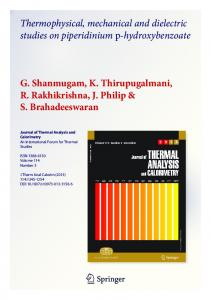 Thermophysical, mechanical and dielectric studies on ...