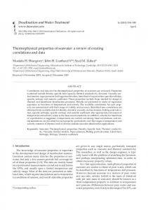 Thermophysical properties of seawater: a review of ... - CiteSeerX