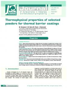 Thermophysical properties of selected powders for thermal barrier