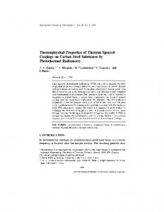 Thermophysical Properties of Thermal Sprayed Coatings on ... - CADIPT