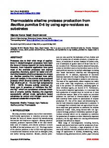 Thermostable alkaline protease production from Bacillus pumilus D-6
