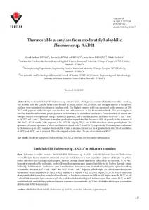 Thermostable α-amylase from moderately halophilic ... - DergiPark