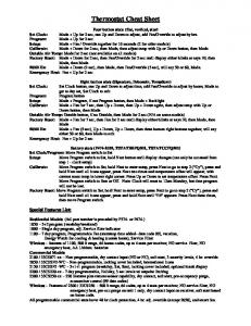Thermostat Cheat Sheet - Totaline