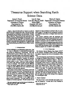 Thesaurus Support when Searching Earth Science Data - NASA ESTO