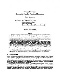 Thesis Proposal: Scheduling Parallel Functional ... - Semantic Scholar