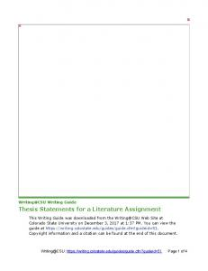 Thesis Statements for a Literature Assignment - Writing@CSU