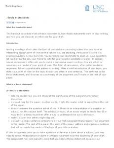 Thesis Statements - The Writing Center - UNC Writing Center