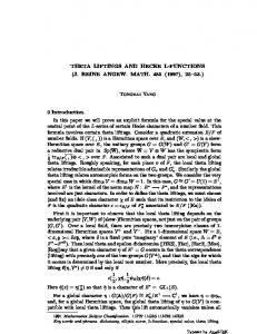 THETA LIFTINGS AND HECKE L-FUNCTIONS - Department of ...