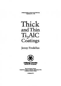 Thick and Thin Ti2AlC Coatings - DiVA