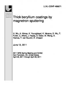 Thick beryllium coatings by magnetron sputtering - Lawrence ...