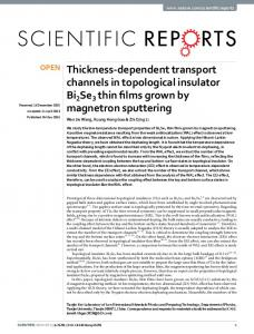 Thickness-dependent transport channels in ... - Semantic Scholar